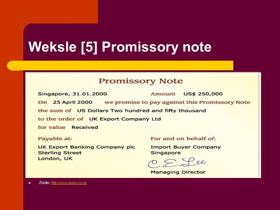 Weksle [5] Promissory note